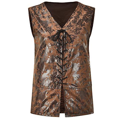 Lisso Mens Medieval Sleeveless Lace up Vest Renaissance Gothic Steampunk Waistcoat Brown XXXXL