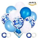 JOJOR Globos Azules y Blancos,60 Piezas Azul Globos con Confeti para Bebe 1 Año Cumpleaños,Niño...