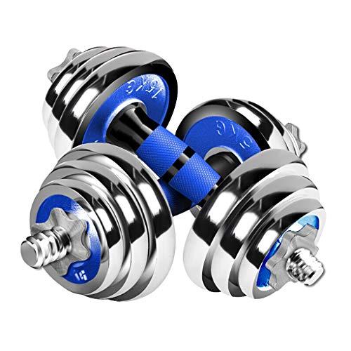 OMING Mancuernas Galvanizadas Pesas 15 kg (7,5 kg * 2) los Deportistas aparatos de Ejercicios de Fitness con Mancuernas Conjunto con Blue Mango Antideslizante Mancuernas de Ejercicio y Fitness