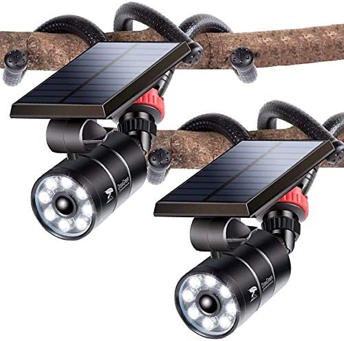 Solar Motion Sensor Light Outdoor Spotlight of 2 Aluminum 9W 1400 Lumen 130W Equi LED Solar product image