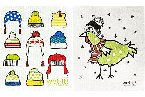 Wet-It - Juego de 2 paños suecos (Gorro de Invierno y Pollo Verde cálido)