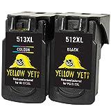 Yellow Yeti Ersatz für Canon PG-512XL CL-513XL Druckerpatronen Schwarz/Farbe kompatibel für Canon Pixma MP230 MP240 MP250 MP252 MP260 MP270 MP280 MP480 MP490 MP495 MP499 iP2700 iP2702 MX320 MX330