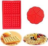 Molde para hornear de silicona para gofres, molde para gofres de 2 piezas, molde para pasteles, cubitos de hielo, molde para pan, moldes para hornear Adecuado para lavavajillas, horno, microondas