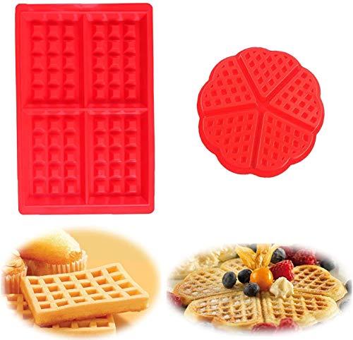 Stampo per waffle in silicone stampo da forno, 2 pezzi stampo per waffle, stampo per torta, cubetto di ghiaccio, stampo per pane, stampi da forno Adatto