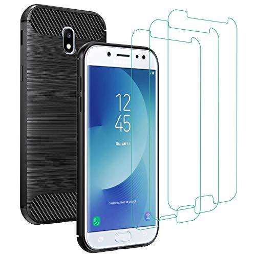 iVoler Cover per Samsung Galaxy J7 2017 con 3 Pezzi Pellicola Vetro Temperato, Fibra di Carbonio Nero Custodia in Morbida Silicone TPU Anti-Graffio Antiurto Protettiva Case
