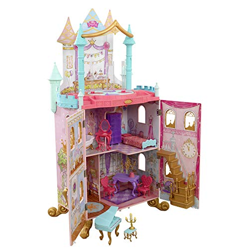 KidKraft Disney Princess Dance & Dream Wooden Dollhouse, Over 4-Feet Tall with Sounds, Spinning Dance Floor and 20 Play Pieces, Gift for Ages 3+