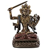 Top Collection Decorative Manjusri Buddha Statue- Bodhisattva of Transcendent Wisdom Sculpture in Premium Cold Cast Bronze- 5.25-Inch Collectible East Asian New Age Buddhist Figurine