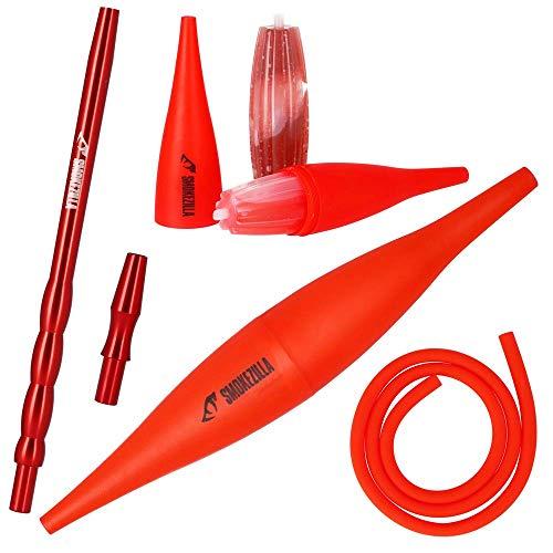 Smokezilla® Cachimba COOLIN Ice Bazooka + Boquilla Aluminio + Manguera Silicona Mate | Ice Bazooka refrigera el Humo! | Compatible con Cada Manguera narguile (Rojo)