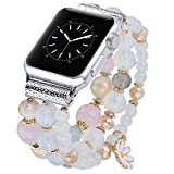 V-MORO Bracelet Compatible with Apple Watch Band SE 40mm 38mm Sereis 6 5 Women Fashion Handmade Elastic Stretch Beads Replacement for iWatch Series 4/3/2/1 38mm/40mm Girls Pink Blue