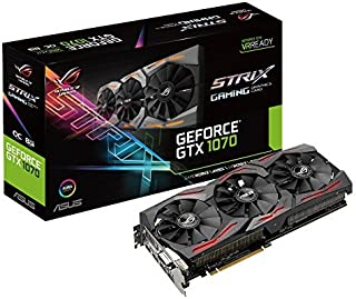 ASUS STRIX-GTX1070-O8G-GAMING - Tarjeta gráfica (Strix, NVIDIA GeForce GTX 1070, 8 GB, GDDR5, DVI-D, HDMI, DP) Color Negro