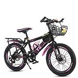 Bicicleta De Montaña para Estudiantes, Velocidad De Freno De Doble Disco para Niños 6-13 Años Bicicleta Primaria para Niños Y Niñas, Bicicleta Juvenil De 20/22 Pulgadas, MTB,Rosado,22inches