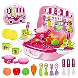 deAO Little Chef - Cocina Infantil con maletín portátil y Accesorios (Color Rosa)