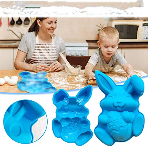 Easter Bunny Bakeware Food Grade Silicone Baking Mould Cake Decor Cartoon Bunny Cake Mould for Chocolate Mould Ice Mould Jelly Pudding Handmade Soap Home Kitchen DIY Tools blue