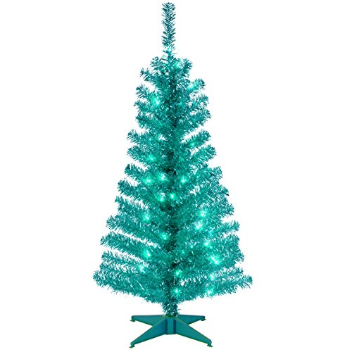 National Tree Company Pre-lit Artificial Christmas Tree | Includes Pre-strung White Lights and Stand | Turquoise Tinsel - 4 ft