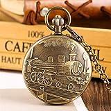 XQKQ Reloj de Bolsillo Tren Antiguo Reloj de Bolsillo de Cobre Puro Tourbillon Reloj mecánico Regalos para Hombres Mujeres Números Romanos Reloj Colgante de Bolsillo