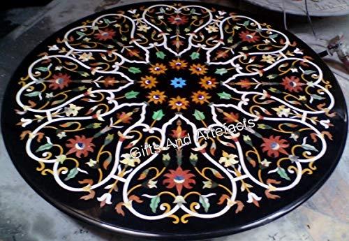 Mesa de conferencia de forma redonda, color negro, mesa de comedor con Pietra Dura Art 36 pulgadas