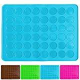 Belmalia Macaron Silicone Baking Mat for 24 perfect Macarons, 48 Moulds, Non-stick coated, 38x28cm Blue