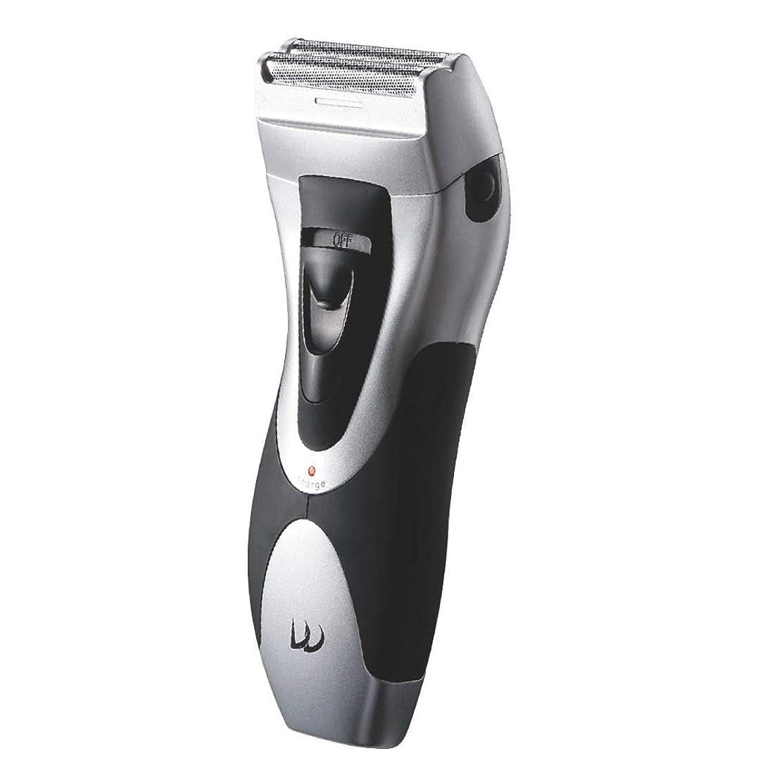 労働者下に教え充電式 Wシェーバー 水洗いOK! 肌に優しい二枚刃 髭剃り ヒゲ剃り お風呂メンズ