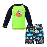LACOFIA Maillot de Bain Deux Pièces pour Bébé Garçon Ensemble T-Shirt et Shorts de Bain pour Enfants Séchage Rapide Protection Solaire UPF50+ Vert 4-5 Ans