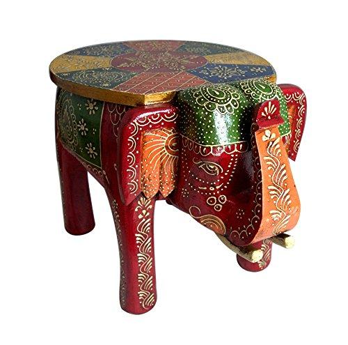 Taburete de madera artesanía hecha a mano de colores funda elefante decoración del hogar 8