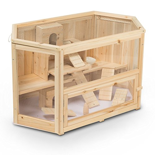 Timbo Cage cochons d'Inde Mats de Bois 90x55x55 cm, Cage Petits Animaux, Cage Hamster, Cage rongeurs