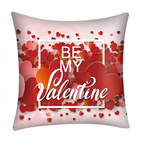 Transwen Funda de cojín, impresión de día de San Valentín, para cojín decorativo, sofá, cama, hogar, decoración, festival, cojín