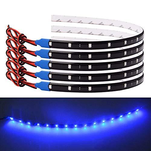 FICBOX 10pcs 12V Super Bright 30cm 3528 15LED Flexible Waterproof LED Strip light For Car, Underglow Lights Motorcycles Golf Cart Decoration Led Interior Exterior Lights Strip (Blue)