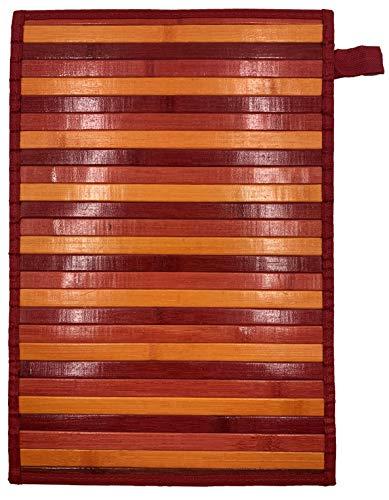 Eurostyle Bambus-Teppich mit rutschfester Rückseite, 50 x 330 cm, Rot