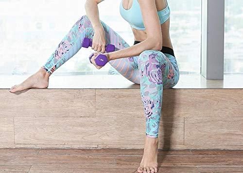 Flores Azul Leggings De Fitness para Mujer Pantalones De Yoga De Cintura Alta Pantalones De Running Impresos En 3D-XL