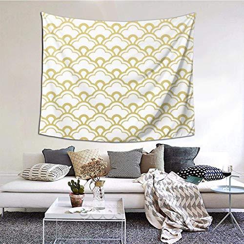 Lámina de Oro Conchas festoneadas Blancas Tapiz de Pared Colgante de Pared Manta de Pared Arte de la Pared Decoraciones Dormitorio Sala de Estar Dormitorio 60X51 Pulgadas