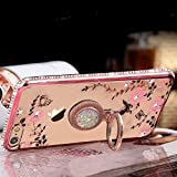 KC Auora Pink Flowers Diamond Stand Ring Holder Soft Silicon Transparent Back Cover