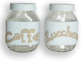 Coppia di Barattoli Barattoli in vetro rivestiti a mano in feltro zucchero caffè