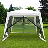 Quictent 10'x8' Party Tent Trapezoid Canopy Outdoor Gazebo with Fully Enclosed Black Mesh Side Wall