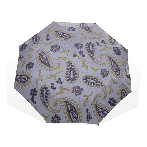 Travel Umbrella For Kids Paisley Purple Lavender Gold Glitter Paper 3 Fold Art Umbrellas(outside Printing) Womens Sun Umbrella Folding Umbrellas For Women Fun Compact Umbrella