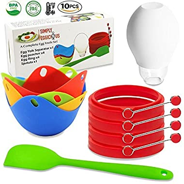 Egg Poacher, Egg Ring, Yolk and White Separator + Spatula - Silicone Poachers Cookware, Non-Stick, BPA Free, Microwave Safe Poaching Cups, Silicone Egg Cooker, Poached Egg Maker, Round or Circle Rings