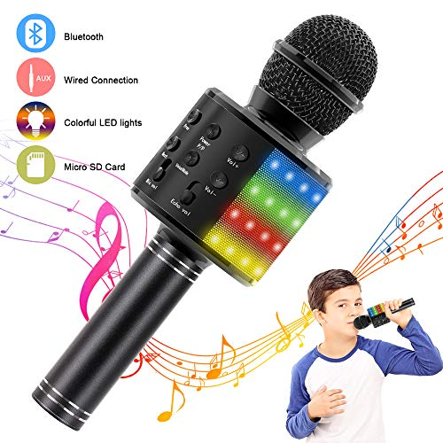 Verkstar Wireless Bluetooth 4 in 1 Karaoke Microphone, Portable Handheld Karaoke Machine Speaker Birthday Home Party Player with Record Function for Android & iOS All Devices(Black)