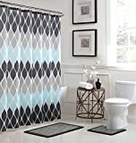 Bath Fusion Clarisse Geometric 15-Piece Bathroom Shower Set, Grey/Blue (Kitchen)
