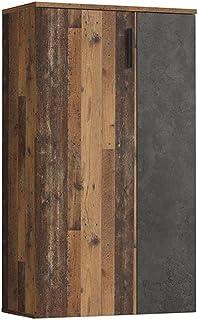 Armoire à Chaussures 2 Portes 5 tablettes Vieux Bois Vintage béton Gris foncé - Contemporain Vintage - Amelie