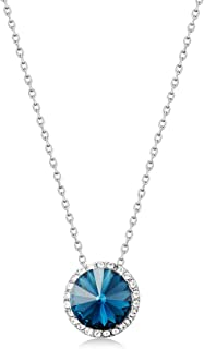 Mestige Women Brass Emory Necklace, 43 cm - MSNE3834, Silver/Blue