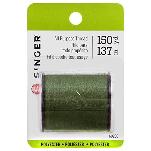 SINGER 60200 All Purpose Polyester Thread, 150-Yard, Olive Green