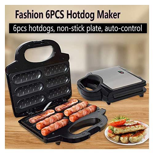 Homecare Atk Elektro Frühstück Maker, Große Edelstahl-Corn Dog-Maschine Mit 6Pcs Hotdogs, Grill-Wurst-Maschine Selbstkontrolle, Antihaft-Platte