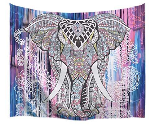 A.Monamour Tapices Indio Hippie Mandala Animales Patrón Tribu Elefante Tatuaje Impresión Tapices Tapiz Temática De Poliéster Tejido Decoraciones para Los Dormitorios Colchas 130x153cm