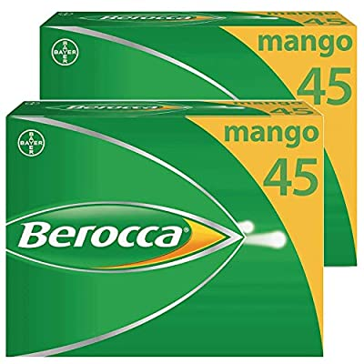 Berocca Energy Vitamin Tablets Mango Flavour, High Dose of Vitamin B Complex, Vitamin B12, Also Contains Vitamin C and Magnesium, 90 Tablets - 12 Weeks Supply