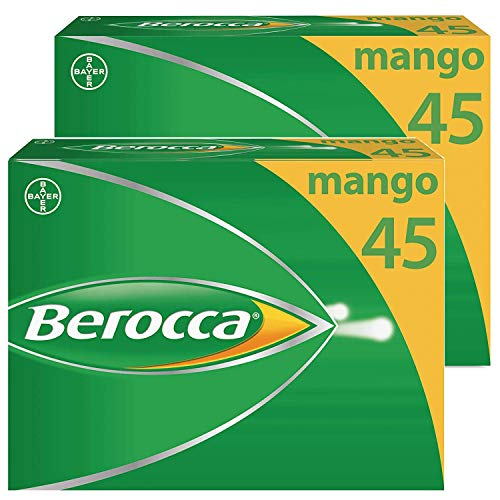 Berocca Vitamin C Effervescent Tablets, with Magnesium, Vitamin B12 & Vitamin B Complex, Mango Flavour, 2 Packs of 45 Tablets - 3 Months Supply