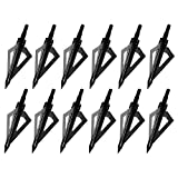 Sinbadteck Hunting Broadheads, 12PCS 3 Blades Archery Broadheads 100 Grain Screw-in Arrow Heads...