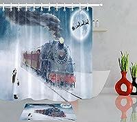 女の子冬雪レトロトレインファブリックシャワーカーテンセットファブリックシャワーカーテン72X72インチ