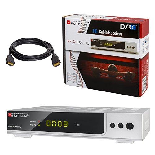HB-DIGITAL Set: Opticum AX C100s HD Receiver für digitales Kabelfernsehen (HDMI, SCART, USB 2.0, Mediaplayer) + HDMI Kabel