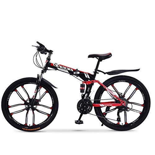 FZ-Kostum Mountain Bike Folding Bikes with High Carbon Steel Frame, Featuring 10 Spoke Wheels and 30 Speed, Double Disc Brake and Dual Suspension Anti-Slip Bicycles, 26 in,B
