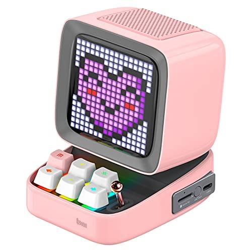 Divoom Ditoo Multifunctional Pixel Art LED Tragbarer Bluetooth Lautsprecher, 256 Programmierbares LED Panel mit Party Licht, Smart Digital Tischuhr, Gaming Musikbox unterstützt TF...