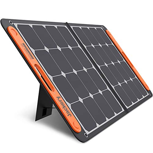 Jackery SolarSaga 100W Portable Solar Panel for Explorer 240/300/500/1000 Power Station, Foldable US Solar Cell Solar Charger with USB Outputs for Phones (Can